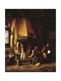 Peasants in Interior or Skaters, 1650 Giclee Print by Adriaen Van Ostade