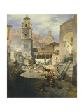 Market Square at the Amalfi Coast, 1876 Giclee Print by Oswald Achenbach