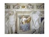 Female Figure Holding Up Caldogno Family Crest Giclee Print by Giovanni Antonio Fasolo