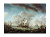 British Fleet Defending Gibraltar Giclee Print by Richard Paton