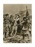 Sir Humphrey Gilbert Claims Newfoundland for England Giclee Print by Richard Caton II Woodville