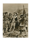 Sir Humphrey Gilbert Claims Newfoundland for England Giclee Print by Richard Caton Woodville II
