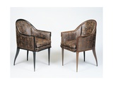 Pair of Art Deco Style Armchairs, Guinde Model Gicleetryck av Jacques-emile Ruhlmann