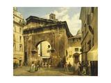 Portico of Octavia in Rome, 1869 Giclee Print by Luigi Bazzani