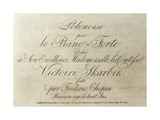 Title Page for Polonese, Piano Score, 1817 Giclee Print by Frederic Chopin