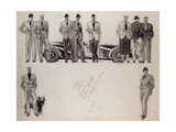Fashion Design for 'Adam', Depicting Ten Male Models Standing by a Car Giclee Print by Ernst Deutsch-dryden