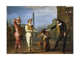 Tombeaux of Maitre Andre, Scene from Commedia Dell'Arte Giclee Print by Claude Gillot