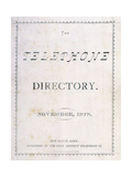 Front Cover of 'The Telephone Directory' of November 1878, 1878 Giclee Print