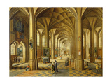 Interior of a Gothic Style Church with Three Naves Giclee Print by Hendrik The Younger Steenwyck