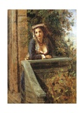 Young Girl at Window or Young Woman on Balcony Giclee Print by Daniele Ranzoni