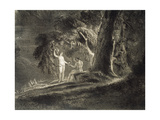 Eve Gives Adam the Forbidden Fruit Giclee Print by John Martin