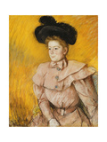 Woman in a Black Hat and a Raspberry Pink Costume, C.1899 Giclee Print by Mary Cassatt