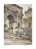 The Arch of Septimius Severus in Rome Giclee Print by Luigi Bazzani