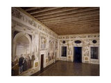 Glimpse of Central Hall with Frescoes Giclee Print by Giovanni Antonio Fasolo