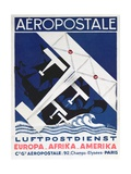 German Poster Advertising the French Airmail Service, 1928 Gicléetryck