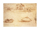 Studies of War Machines, 1485 Giclee Print by  Leonardo da Vinci