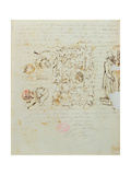 Letter with Drawing Sent to Balzac's Sister Laure, 1821 Giclee Print by Honore de Balzac