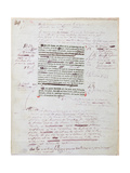 Proof of Printed Page with Annotations by the Author Giclee Print by Honore de Balzac