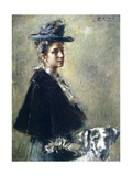 Portrait of Mrs Torelli or Lady with Dog Giclee Print by Luigi Conconi