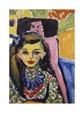 Portrait of Franzi in Front of Carved Chair Giclee Print by Ernst Ludwig Kirchner
