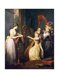 Harp Lesson Given by Madame De Genlis, Ca 1842 Giclee Print by Jean-Baptiste Mauzaisse