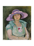Portrait of Marthe Lebasque in a Purple Hat, 1925-26 Giclee Print by Henri Lebasque