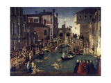 Miracle of Cross at Bridge of San Lorenzo Giclée-tryk af Gentile Bellini