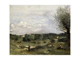 Meadow with Cows, a Willow on the Right and a Distant Village Giclee Print by Jean-Baptiste-Camille Corot