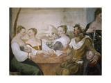 Players at Table, Detail from Game of Cards Giclee Print by Giovanni Antonio Fasolo