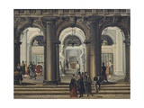 Entrance to Marciana Library in Venice Giclee Print by Giuseppe Bernardino Bison