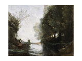 A River with a Square Tower and a Farmer in the Foreground, C.1865-70 Giclee Print by Jean Baptiste Camille Corot