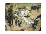 Branding of Young Bulls in Maremma, Circa 1887 Giclee Print by Giovanni Fattori