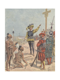 Jacques Cartier Claims French Possession of Gaspe Bay, Canada, 1534 Giclee Print by Louis Charles Bombled