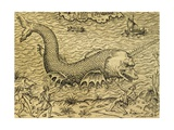 Sea Monster, Engraving from Universal Cosmology Giclee Print by Andre Thevet
