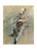 Portrait of Cellist Gaetano Braga, 1889 Giclee Print by Giovanni Boldini