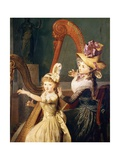 Harp Lesson Given by Madame De Genlis Giclee Print by Jean-Baptiste Mauzaisse
