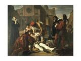 The Murder of Lorenzino De' Medici Giclee Print by Giuseppe Bezzuoli