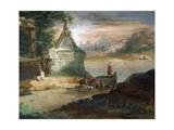 Shepherds in Imaginary Landscape Giclee Print by Giuseppe Bernardino Bison