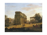 Arch of Septimius Severus in Rome Giclee Print by Gaspar van Wittel