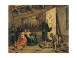 Charles V Picking Up Titian's Brush Giclee Print by Modesto Faustini