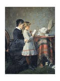 Grandmother's Lessons, 1880-1881 Impression giclée par Silvestro Lega