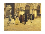 Strolling in the Square in Venice, 1884 Giclee Print by Giacomo Favretto