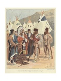 Trappers Trading with Native Americans, New France Giclee Print by Louis Charles Bombled