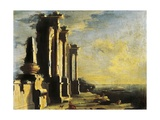 Harbor with Ruins Giclee Print by Leonardo Coccorante