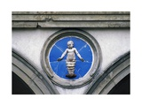 Glazed Ceramic Tondo with Putto Giclee Print by Andrea Della Robbia