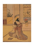 Young Man Playing the Drum Giclee Print by Suzuki Harunobu