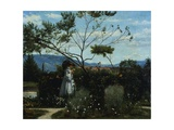 Among the Flowers in the Garden Giclee Print by Silvestro Lega