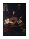Lute Player with Vanitas Symbols Giclee Print by Luigi Miradori