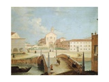 Bridge and the Church of Santa Margherita in Treviso Giclee Print by Medoro Coghetto