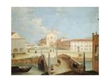 Bridge and the Church of Santa Margherita in Treviso Giclee Print by Medoro Coghetto